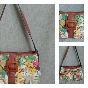 Tropical Floral  Purse Brown Canvas Purse